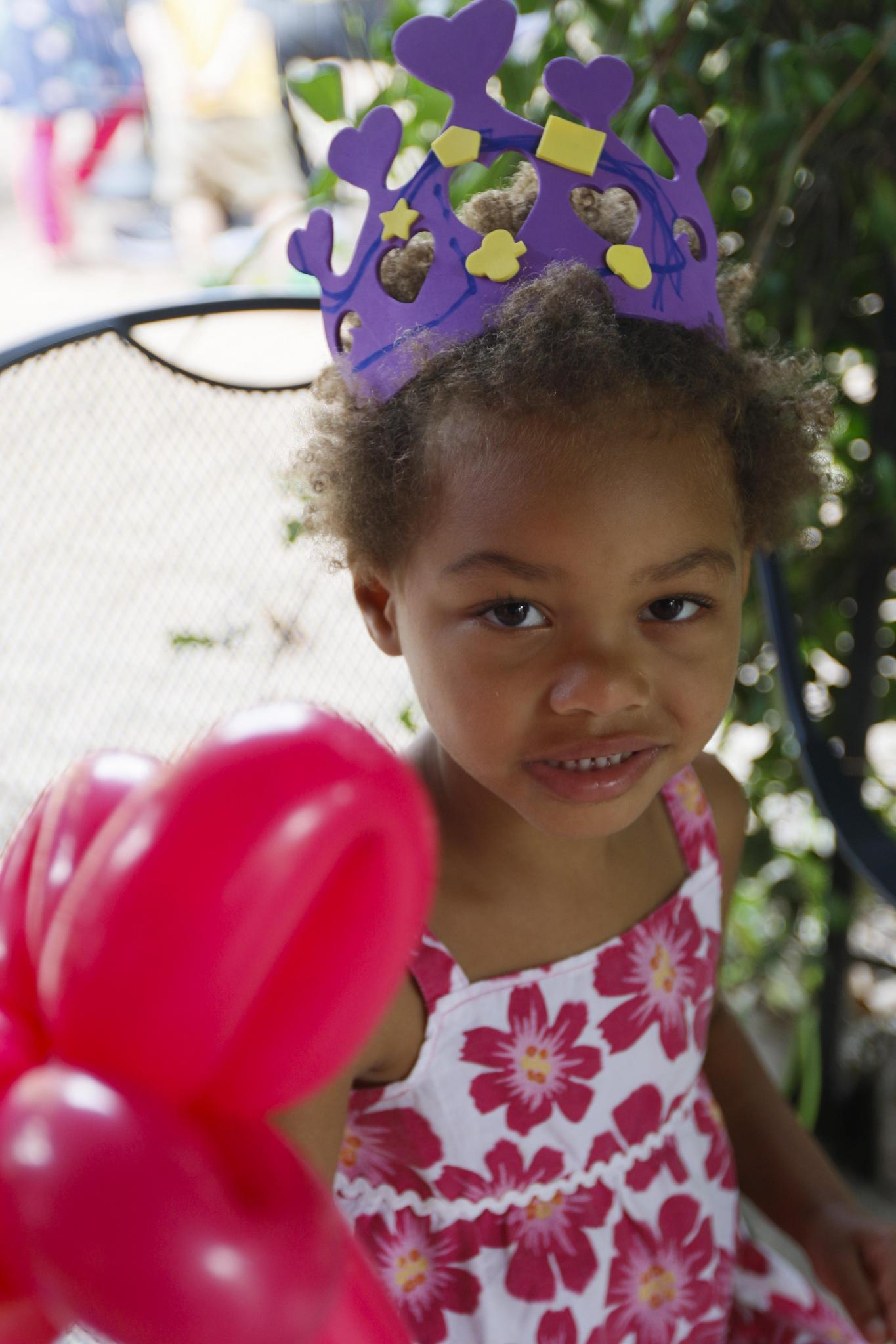 Malia Racine-Belleau, got the chance to make crowns and get balloon animals.