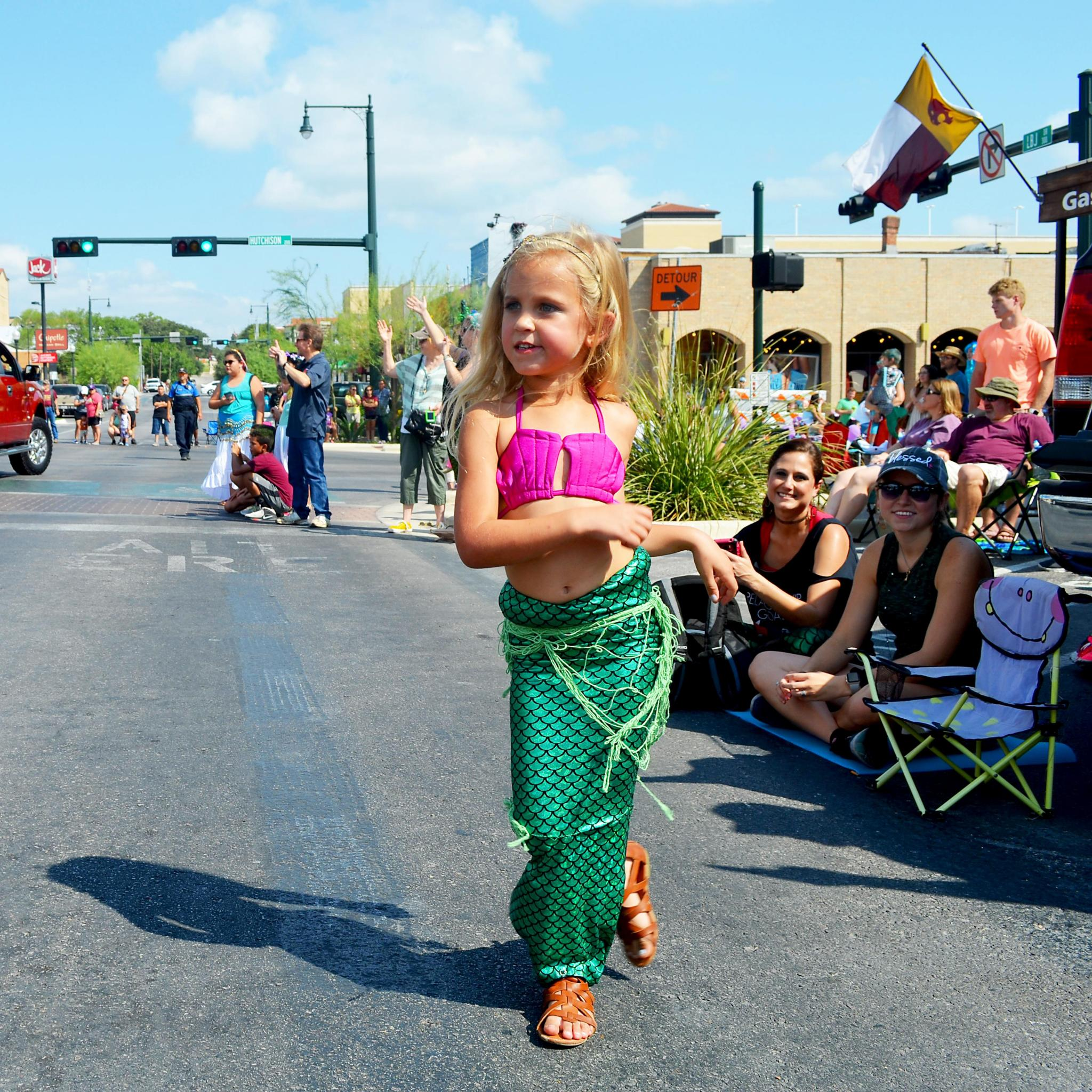Kamryn Harvay of Gonzales traveled all the way to San Marcos to get a close view of the Mermaid Promenade.