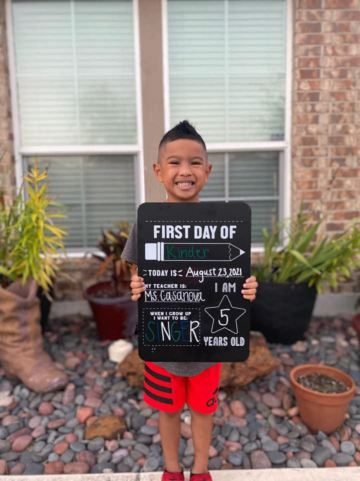 Josiah Narvaiz started Kindergarten at Rodriguez Elementary school. Photo submitted by James Narvaiz