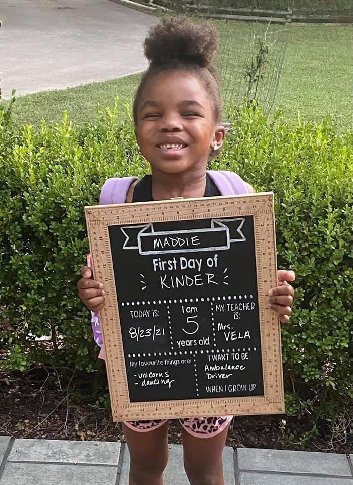 Maddie Megerson started  Kindergarten Crockett Elementary. Photo submitted by Natalie Butler Megerson