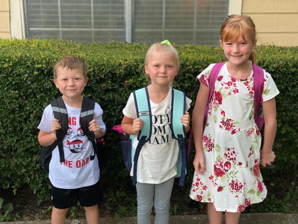 Karson, kindergarten, Kaylynn, first grade, Kaydence, third grade at Crockett Elementary. Photo submitted by Krystina Marie Cox