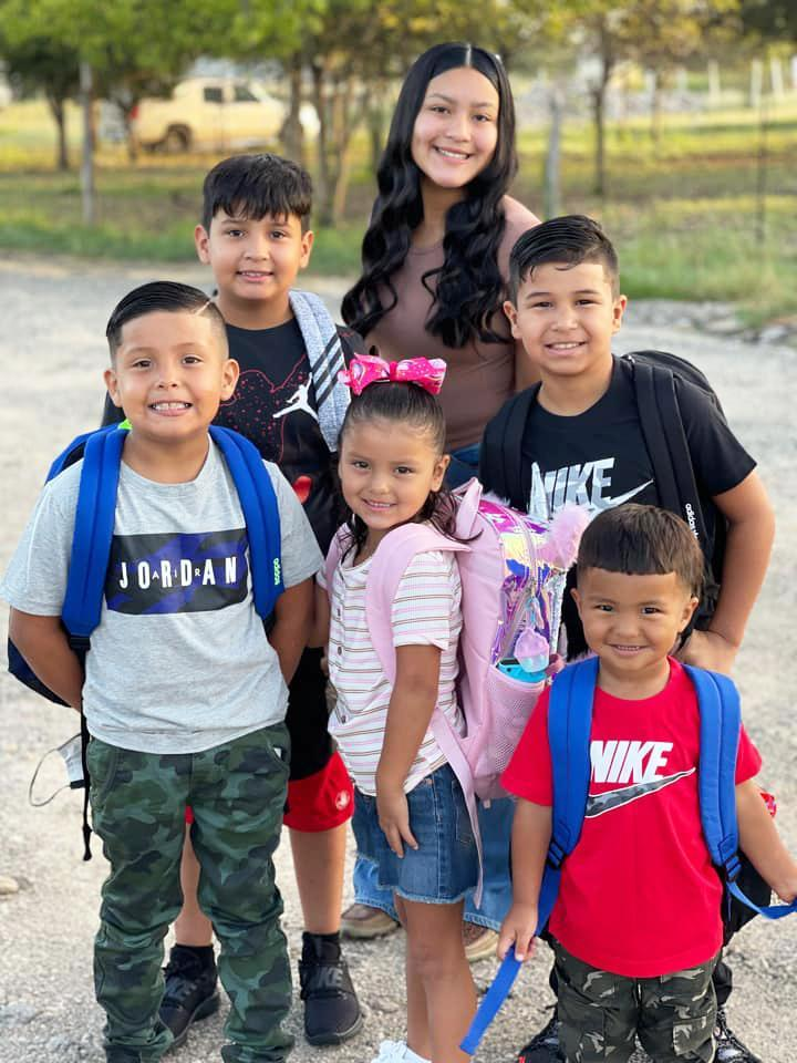 Below, Serenity, Eighth grade at Goodnight Middle School; Zane, fifth grade Bowie Elementary; Zaiden, fourth grade Bowie; Alex, second grade Bowie; Yaneli, Kindergarten Bowie; Yael, Headstart.Photo submitted by Gomez Alma