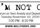 WillThrive Foundation to host virtual forum to help anxiety, depression in teens